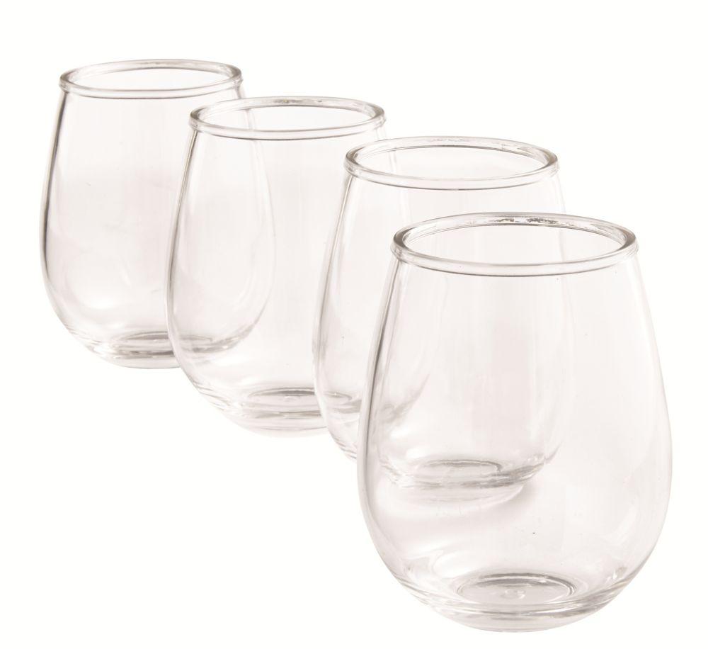 Paquet de 4 verres à vin en plastique sans pied