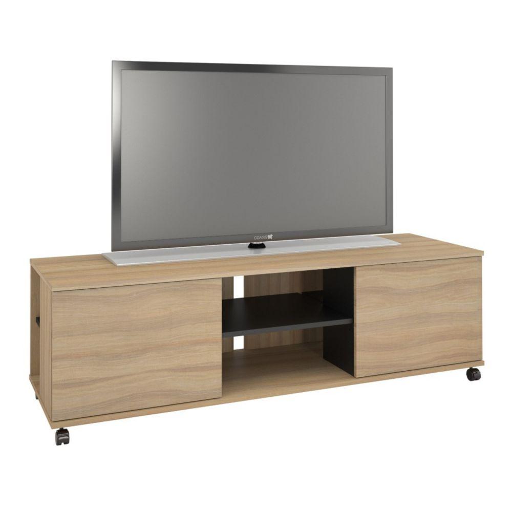 Nexera 103924 Jasper 2-Door TV Stand, 60-inch, Biscotti & Black