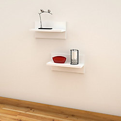 Nexera Liber-T 19-inch x 6.5-inch x 9.5-inch Floating Wall Shelves in White (2-Pack)