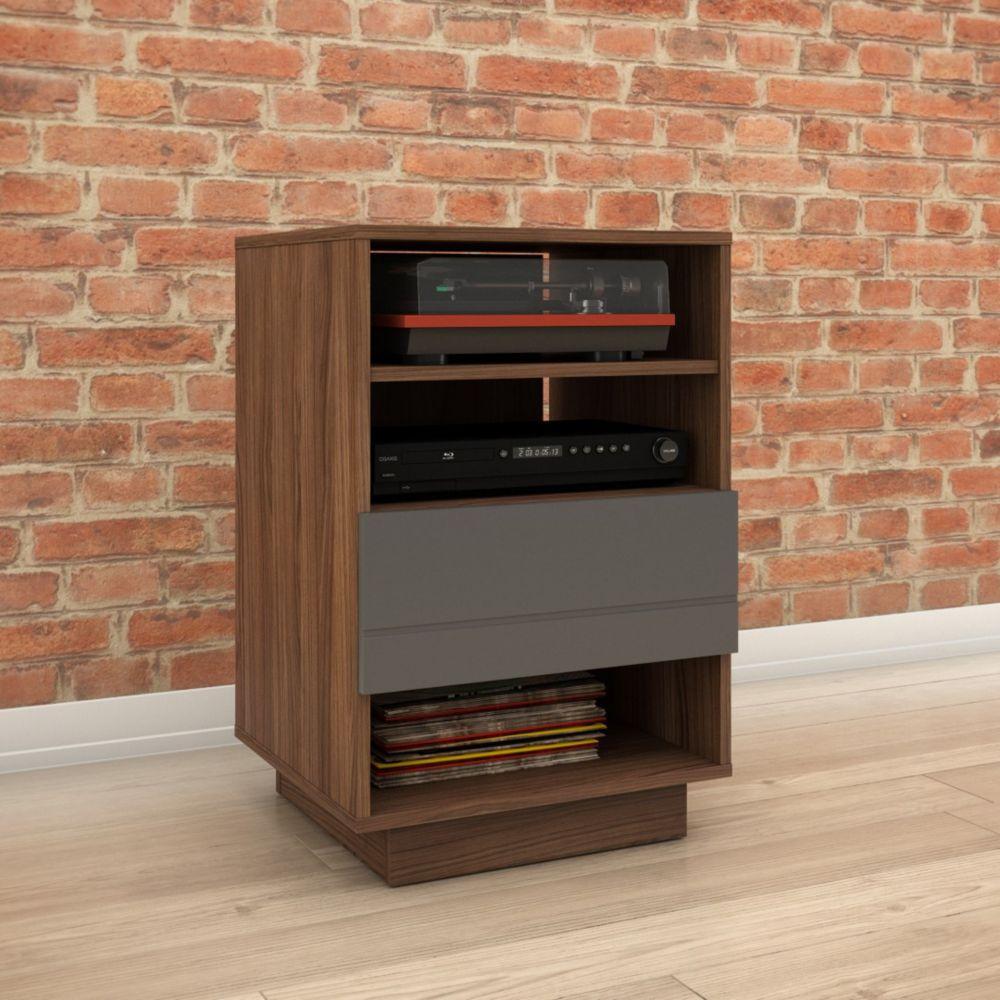 Nexera Nexera 105242 Radar 1-Drawer Audio Cabinet, Walnut & Charcoal