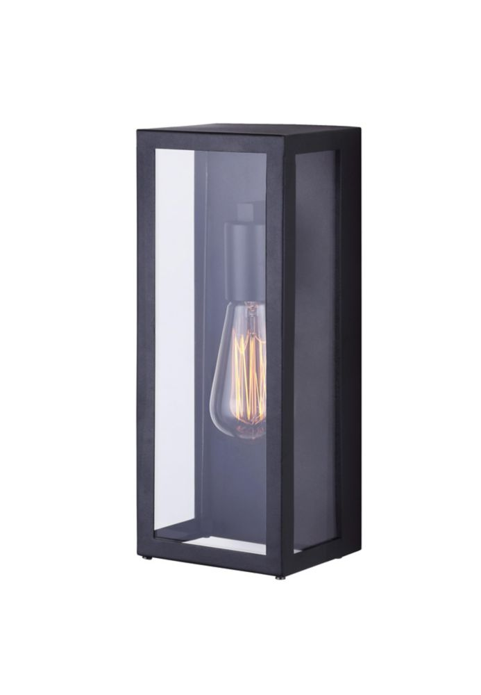 Galia 1l Black Outdoor Wall Light With Clear Glass