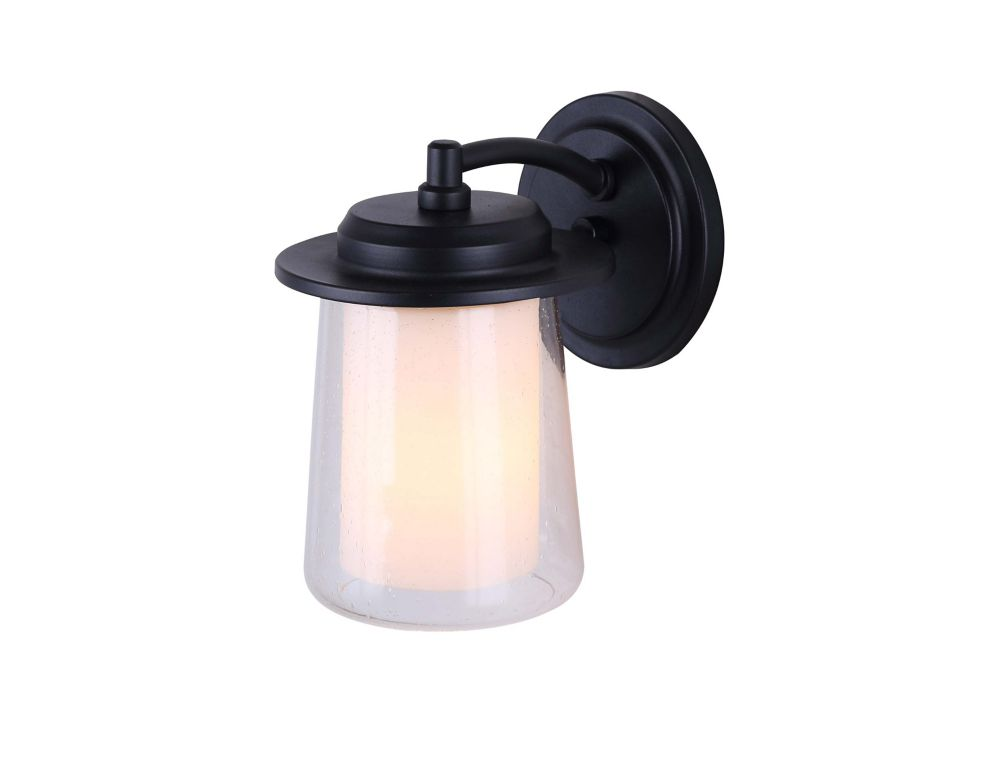 Canarm Ltd. Montague 1 Light Outdoor Black Wall Light With Seeded & Flat Opal Glass