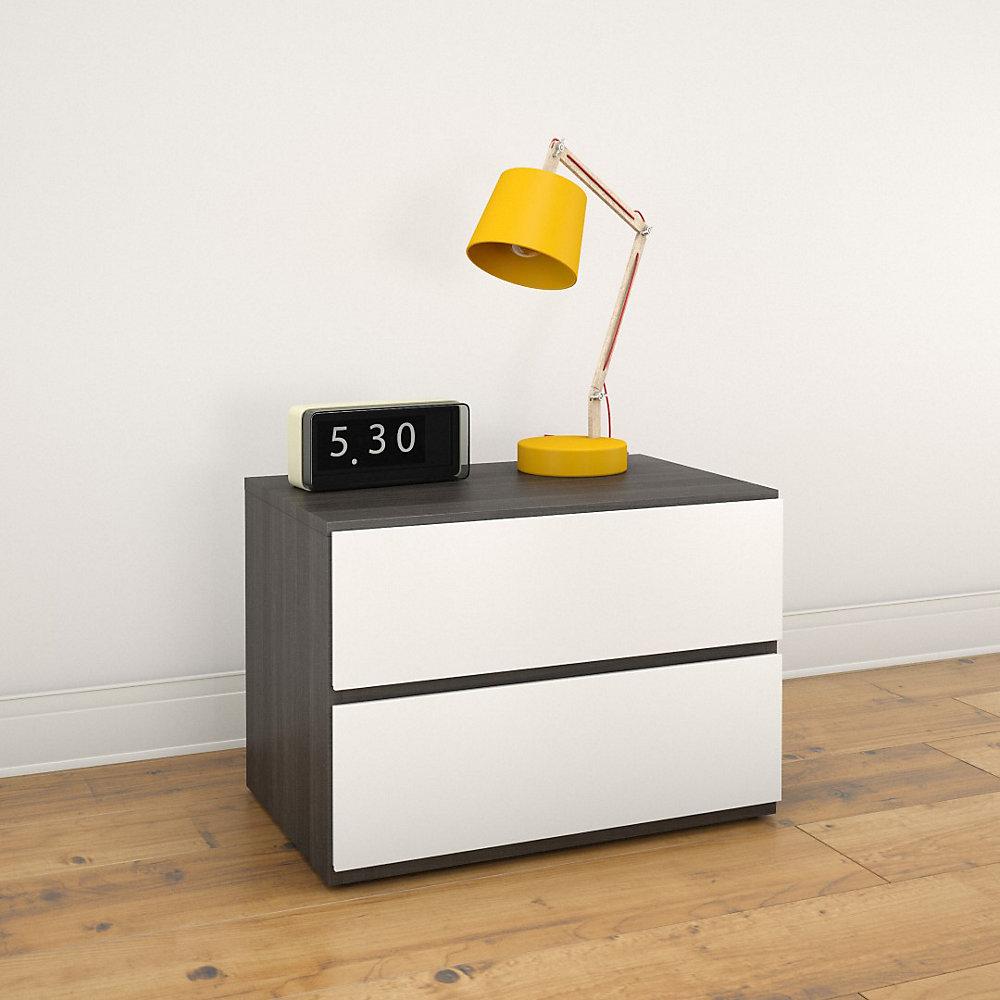 Allure 23.75-inch x 16.75-inch x 15.5-inch 2-Drawer Nightstand in White