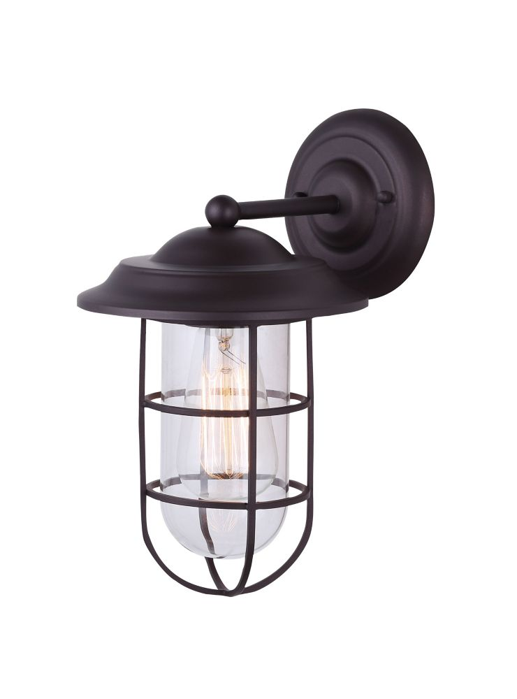 Bayard 1 Light Outdoor Orb Wall Lantern With Cage