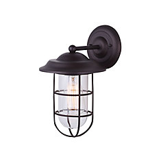 Outdoor lighting solar led more the home depot canada bayard 1 light outdoor orb wall lantern with cage aloadofball Image collections