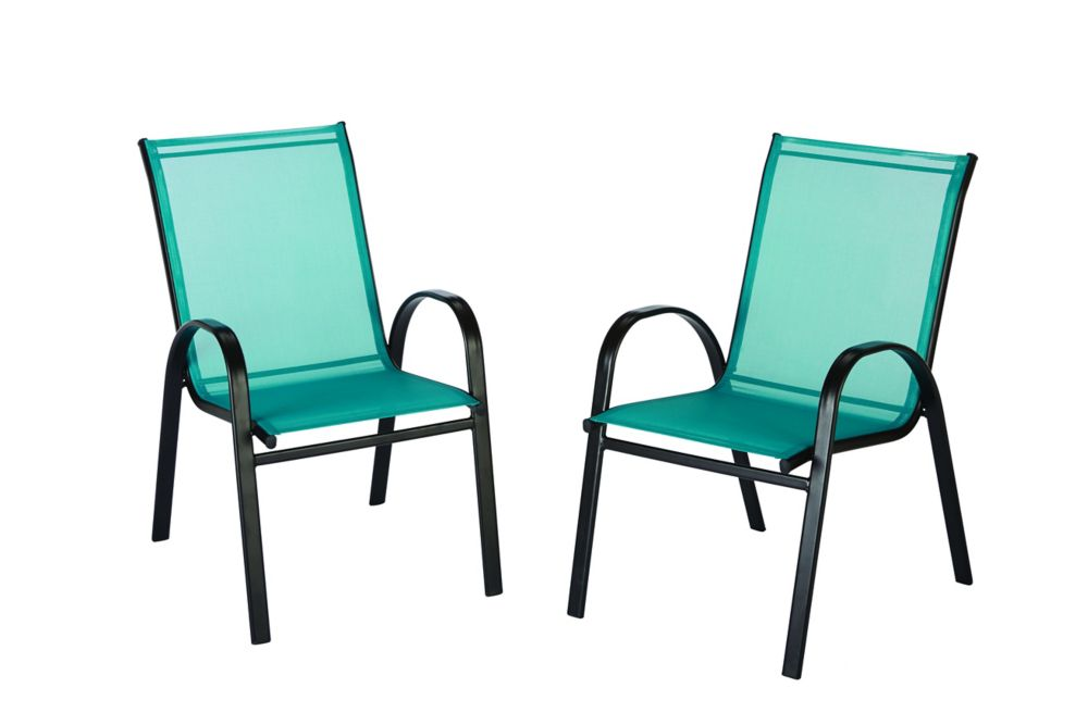 The Home Depot Outdoor Sling Stack Chair in Teal