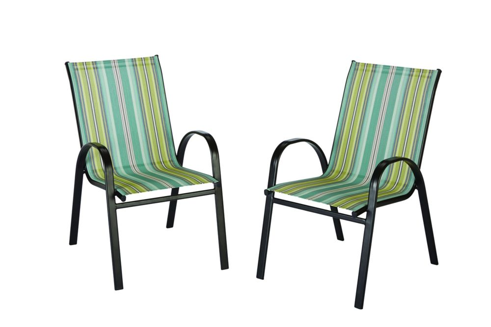 The Home Depot Outdoor Sling Stack Chair in Stripe