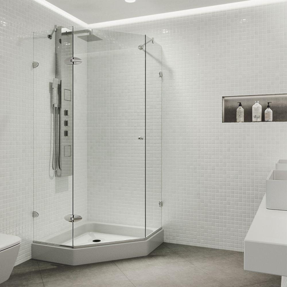 Paroi de douche sans cadre néo-angulaire, bac,transparente et chrome, 36 pouces x 36 pouces
