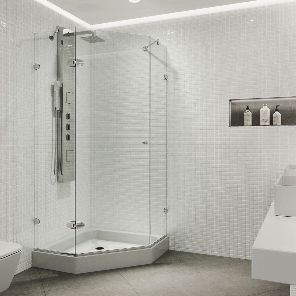 VIGO 40-Inch  x 40-Inch  Frameless Shower Stall in Clear with Chrome