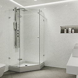 VIGO Verona 42 inch x 78.75 inch Frameless Neo-Angle Hinged Corner Shower Enclosure in Chrome with Clear Glass and Base