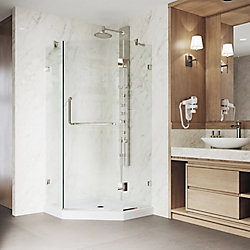 VIGO Piedmont 36.125 inch x 76.75 inch Frameless Neo-Angle Shower Door in Brushed Nickel with Clear Glass and Low Profile Base