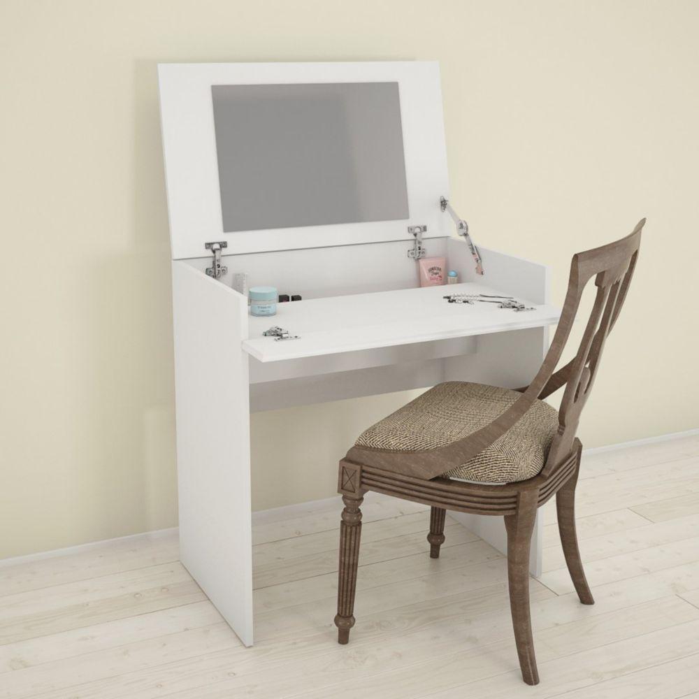 Nexera Blvd. 29.75-inch x 30.75-inch x 18.6-inch Writing Desk & Vanity with Mirror in White