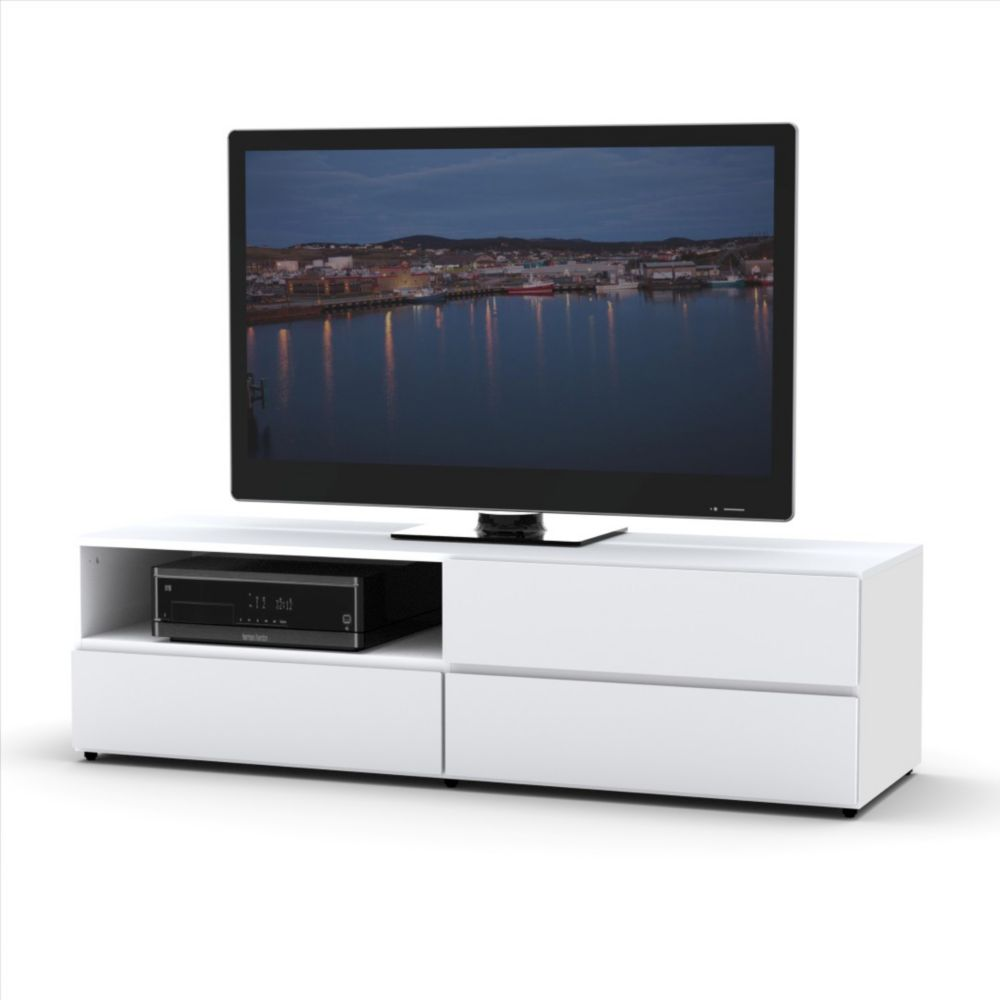 Monarch Specialties Tv Stand 60 Inch L White With 1 Drawer  # Meuble Support Tv Blanc