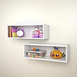 Nexera Blvd. 27.75-inch x 9.5-inch x 9-inch Rectangular Floating Wall Shelves in White (2-Pack)