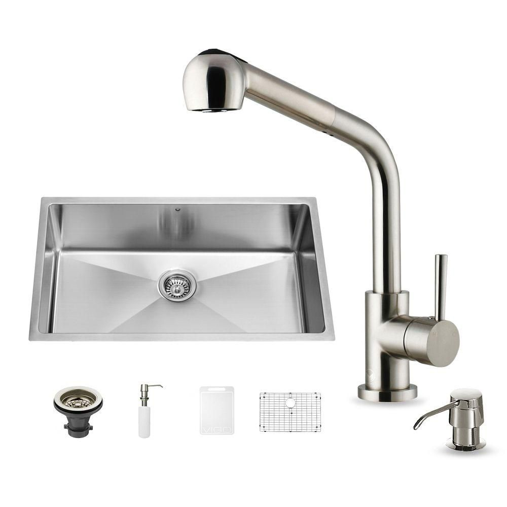 Stainless Steel All in One Undermount Kitchen Sink and Faucet Set 32 Inch