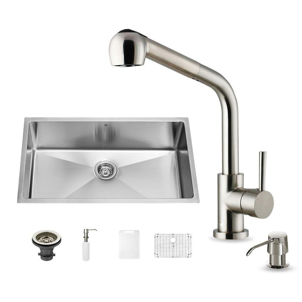 Ensemble Undermount en acier inoxydable, évier et robinet, 32 pouces