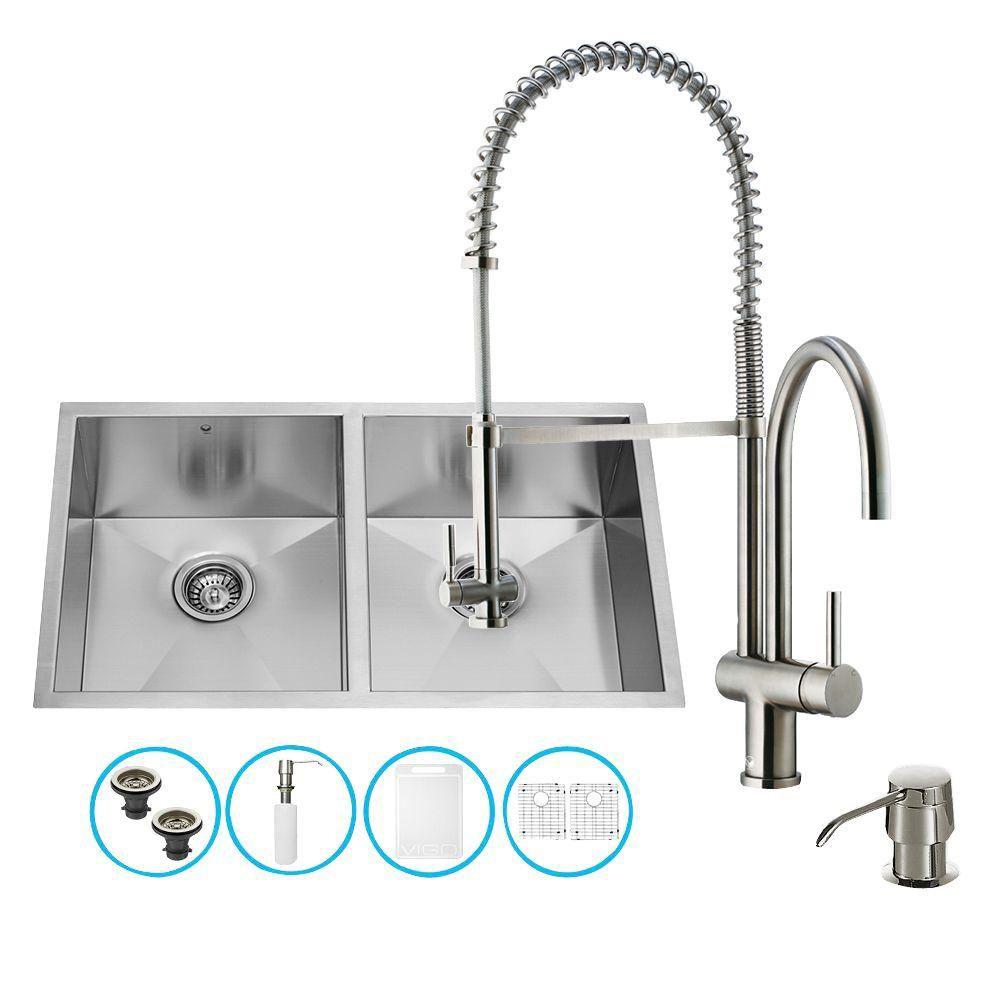 Ensemble Undermount en acier inoxydable, évier double et robinet, 32 pouces