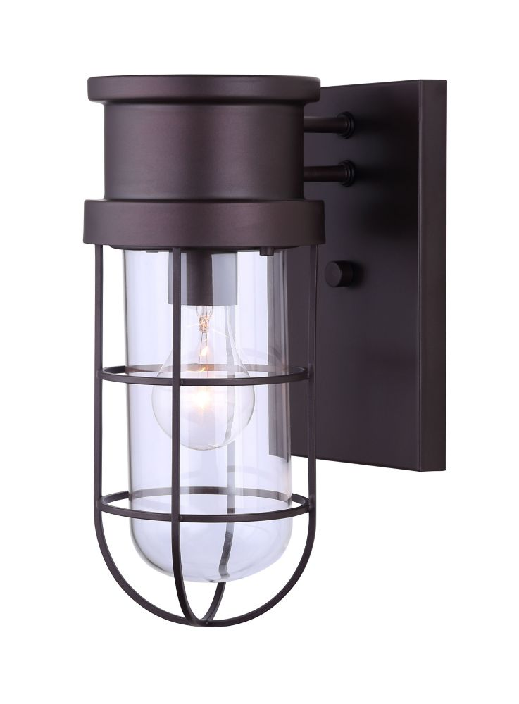 Brooklyn 1 Light Outdoor Orb Wall Light, Wire Cage & Clear Glass