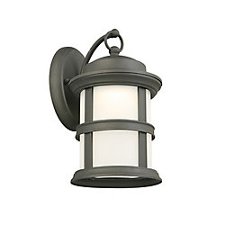 Hampton Bay 1-Light Black LED Outdoor Wall Lantern with Frosted Glass Shade - ENERGY STAR®