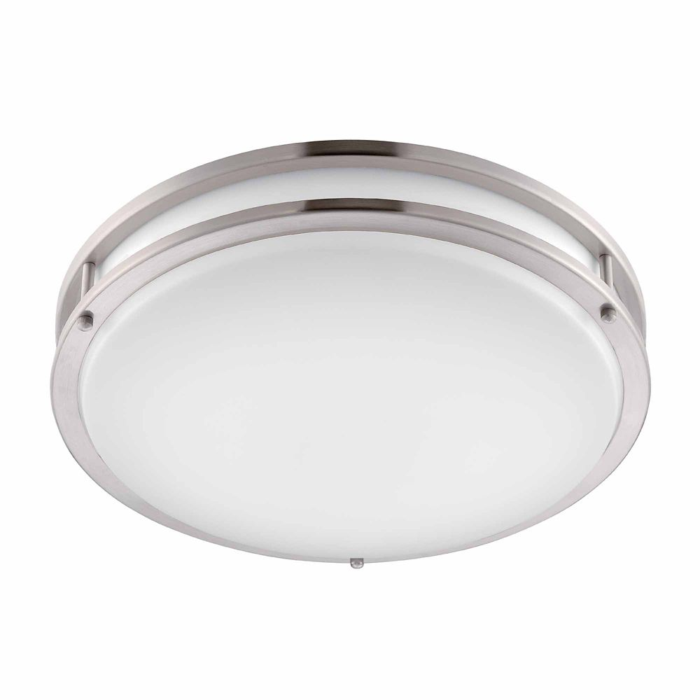 Low Profile LED 16 Inch Flush Mount Ceiling Brushed Nickel/White Lighting Fixture