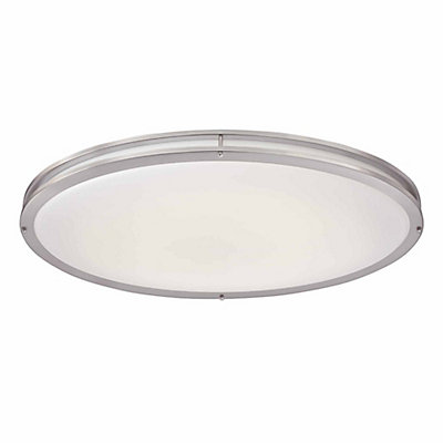 Low profile led 32 inch oval flushmount ceiling light in brushed nickel and white shade