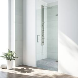 VIGO Soho 26 to 26-1/2 inch x 70.625 inch Frameless Hinged Shower Door in Stainless Steel with Clear Glass and Handle