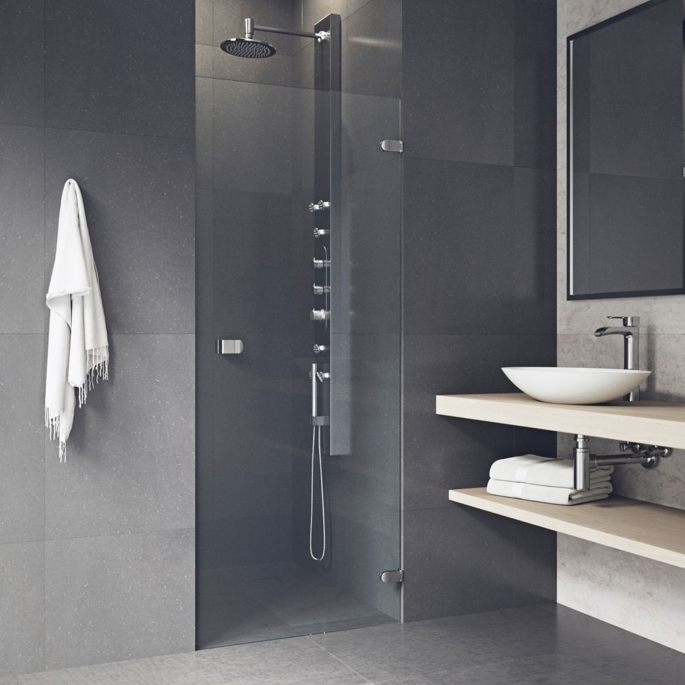 Chrome Clear Tempo Frameless Shower Door 26 Inch 5/16 Inch glass
