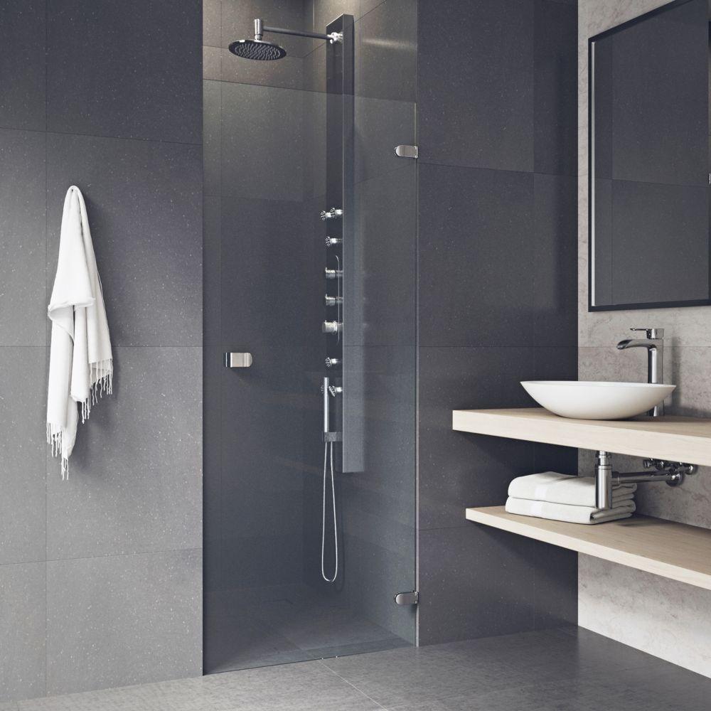 Porte de douche sans cadre transparente Tempo en acier inoxydable 24 pouces, verre de  5/16