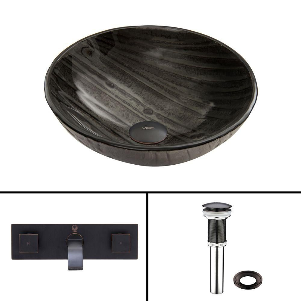Glass Vessel Sink in Interspace with Titus Faucet in Antique Rubbed Bronze