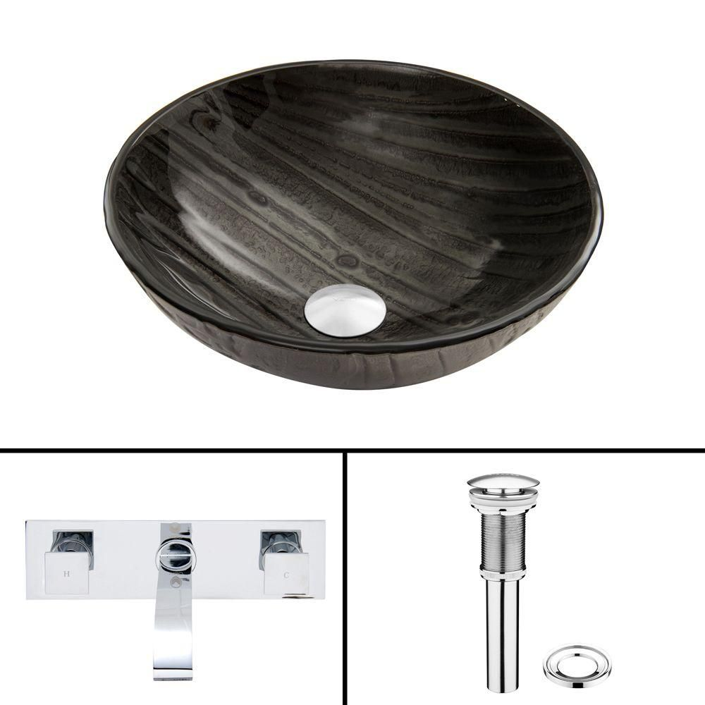 Glass Vessel Sink in Interspace with Titus Faucet in Chrome