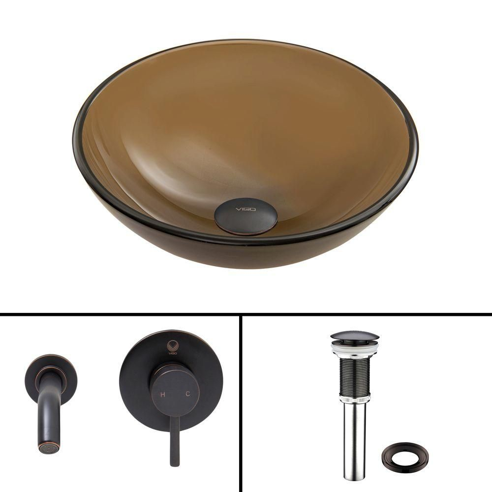 Glass Vessel Sink in Sheer Sepia Frost with Olus Wall-Mount Faucet in Antique Rubbed Bronze