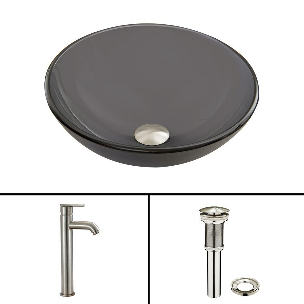 Glass Vessel Sink in Sheer Black Frost with Seville Faucet in Brushed Nickel