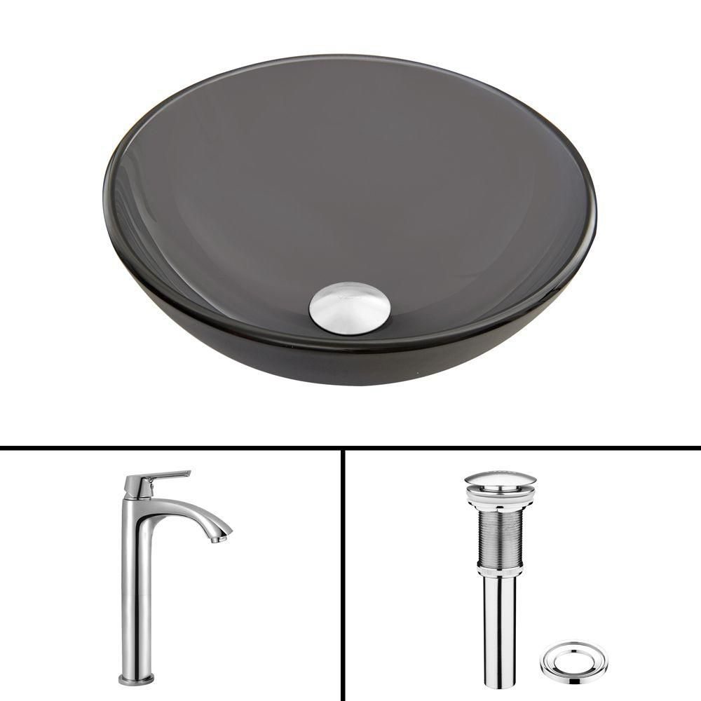 Glass Vessel Sink in Sheer Black Frost with Linus Faucet in Chrome