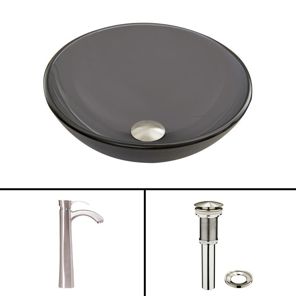 Glass Vessel Sink in Sheer Black Frost with Otis Faucet in Brushed Nickel