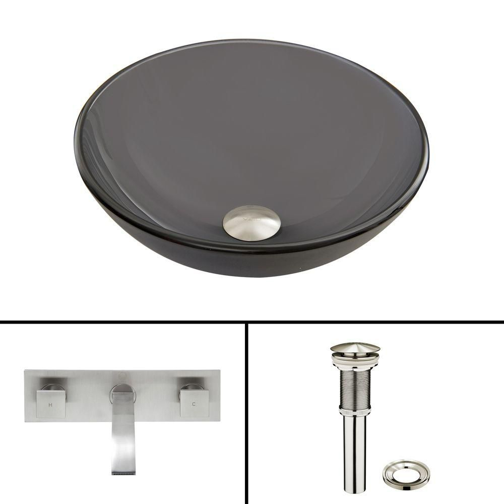 Vigo Glass Vessel Sink in Sheer Black Frost with Titus Wall-Mount Faucet in Brushed Nickel