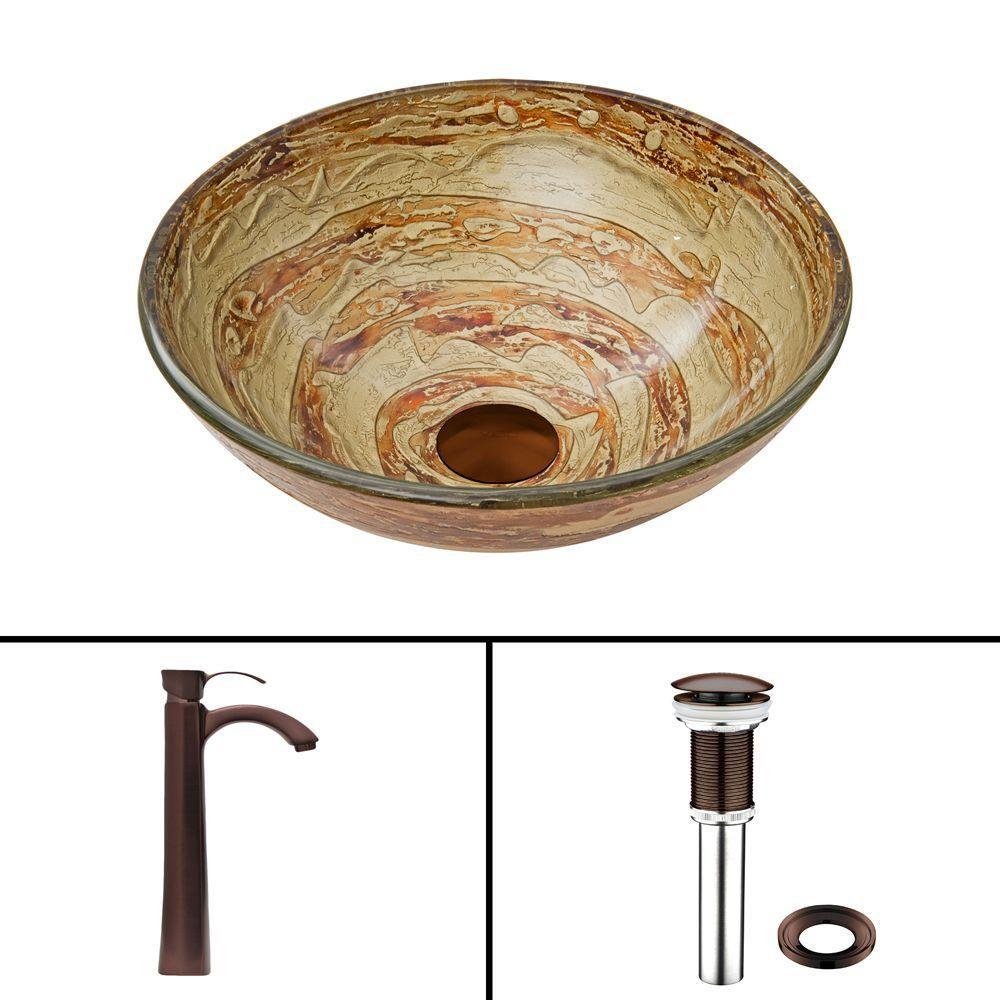 Glass Vessel Sink in Mocha Swirl with Otis Faucet in Oil-Rubbed Bronze