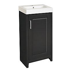 Magick Woods Gretta 17.5-inch W 1-Door Freestanding Vanity in Black With Ceramic Top in White