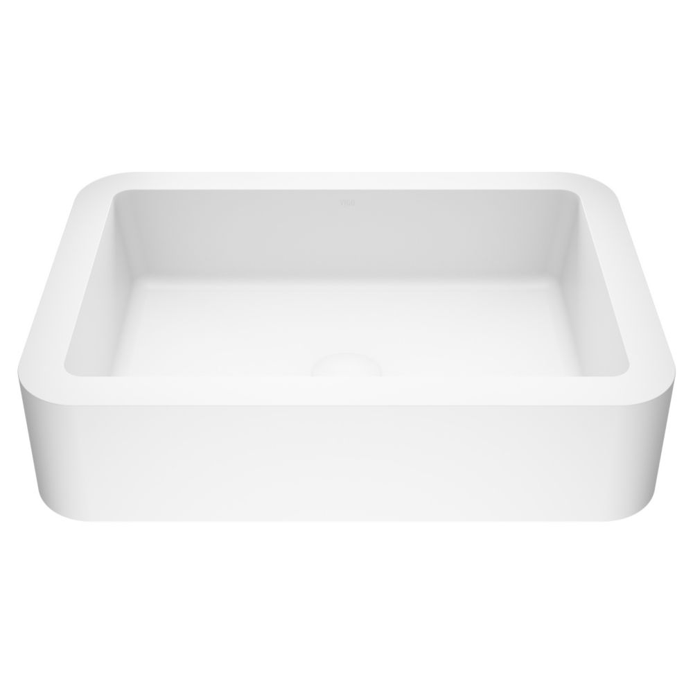 Navagio Composite Vessel Sink in Matte White