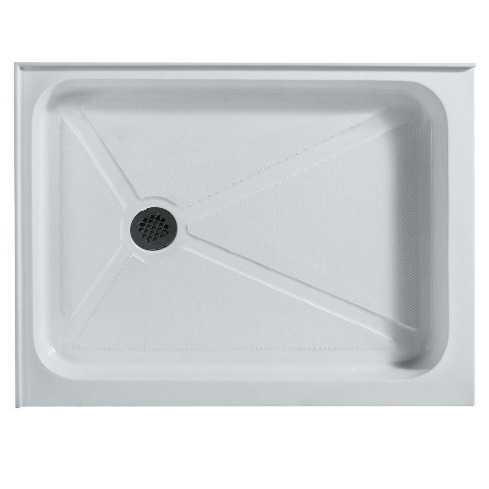 Bac de douche blanc rectangulaire, 32 pouces x 40 pouces, avec drain à gauche