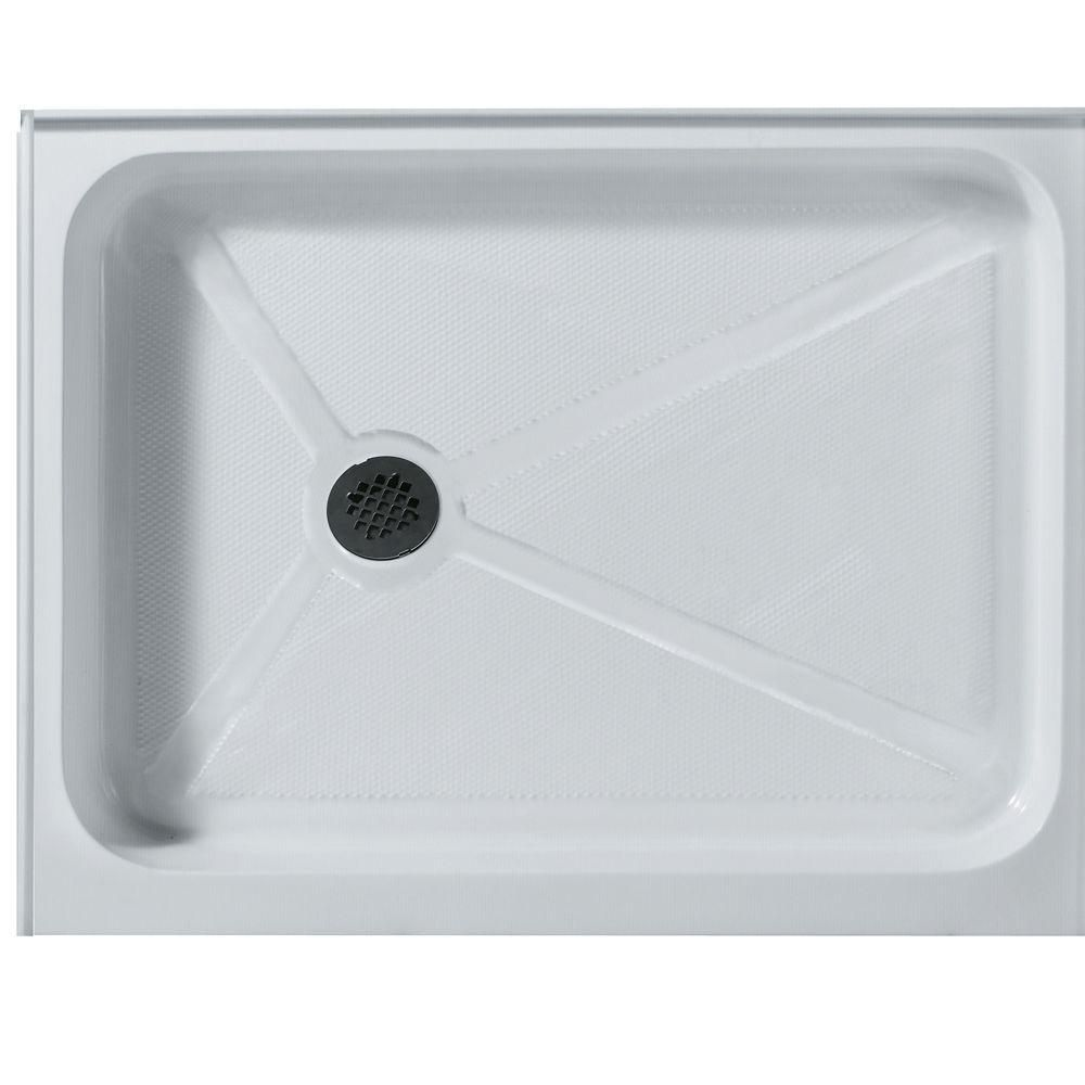 White Shower Tray 32 Inch by 48 Inch Rectangular Left Drain VG06019WHT3248L Canada Discount