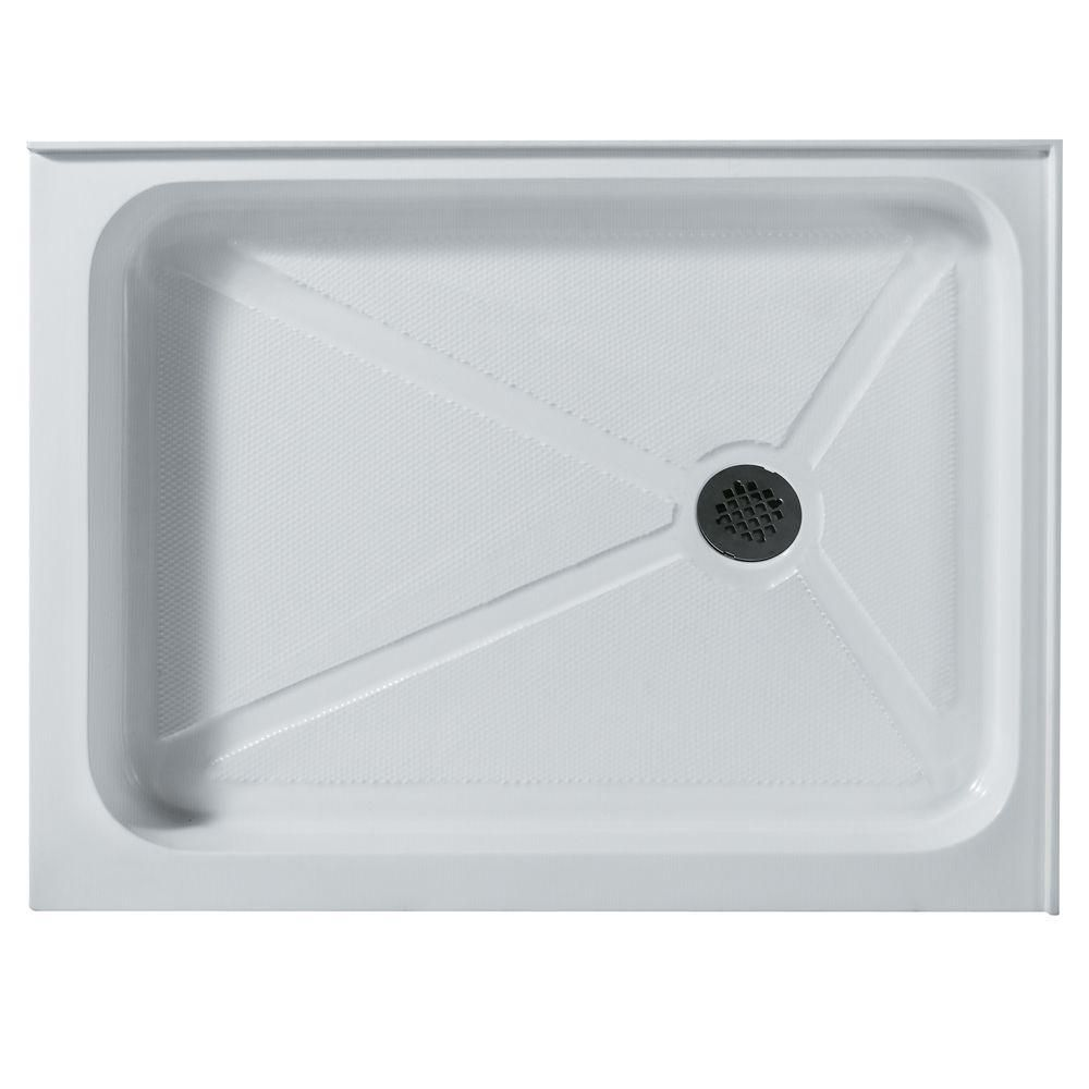 White Shower Tray 32 Inch by 48 Inch Rectangular Right Drain