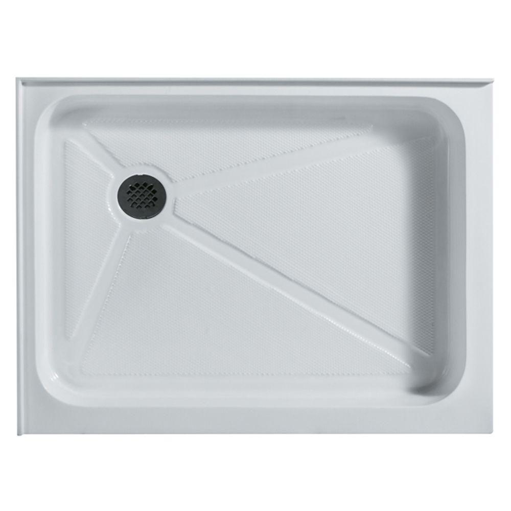 Bac de douche blanc rectangulaire, 36 pouces x 48 pouces, avec drain à gauche