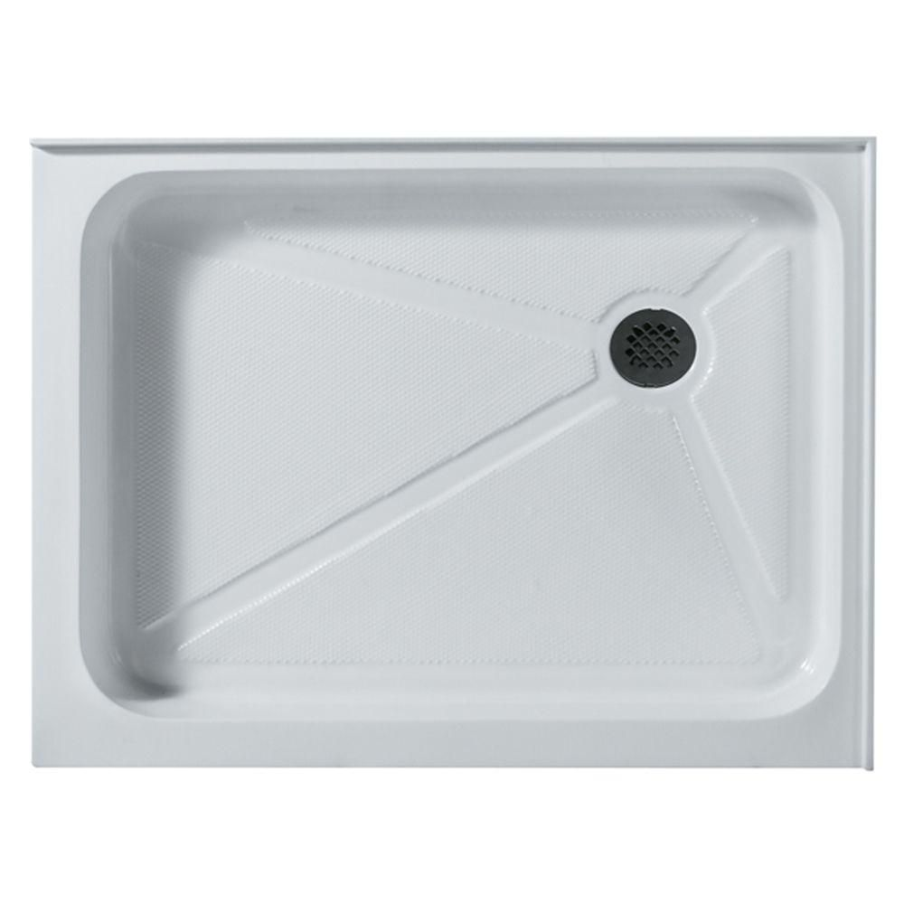 White Shower Tray 36 Inch by 48 Inch Rectangular Right Drain