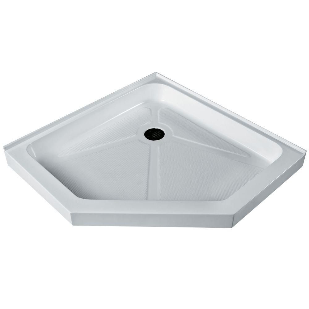 White Shower Tray 47 Inch by 47 Inch Neo Angle Low Profile