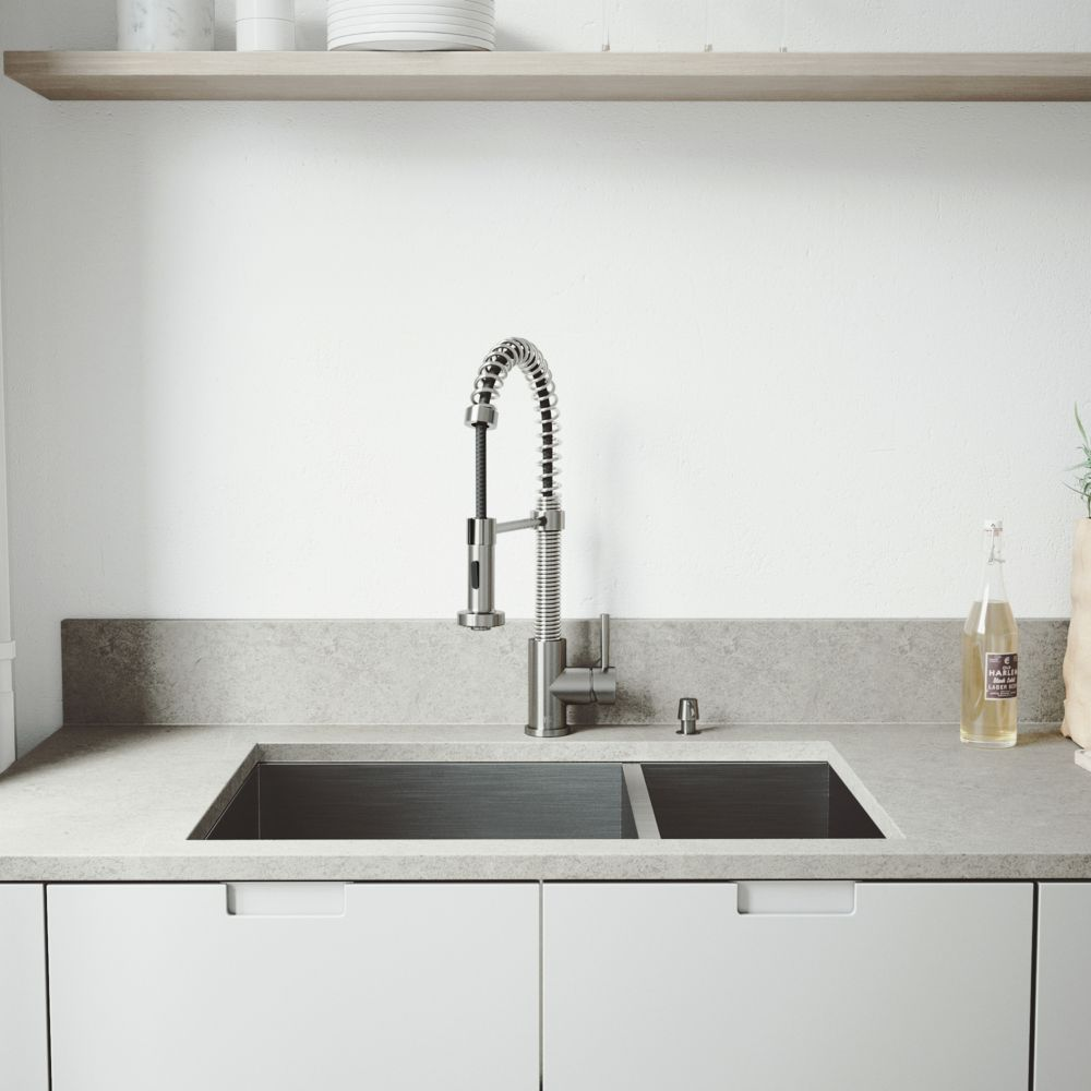 Stainless Steel Undermount Kitchen Sink Faucet Grid Two Strainers and Dispenser