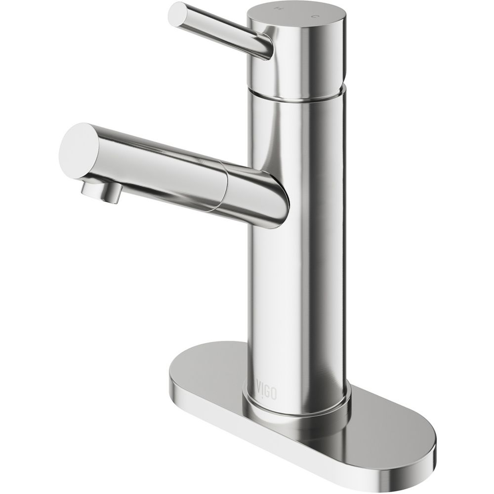 Single-Lever Bathroom Faucet with Deck Plate in Brushed Nickel Finish