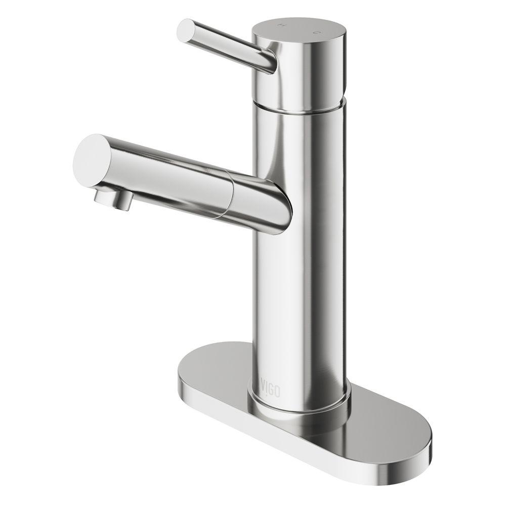 Robinet de salle de bain monocommande en nickel brossé avec plaque de pont