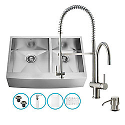 VIGO Stainless Steel All in One Farmhouse Double Bowl Kitchen Sink and Faucet Set 36 Inch