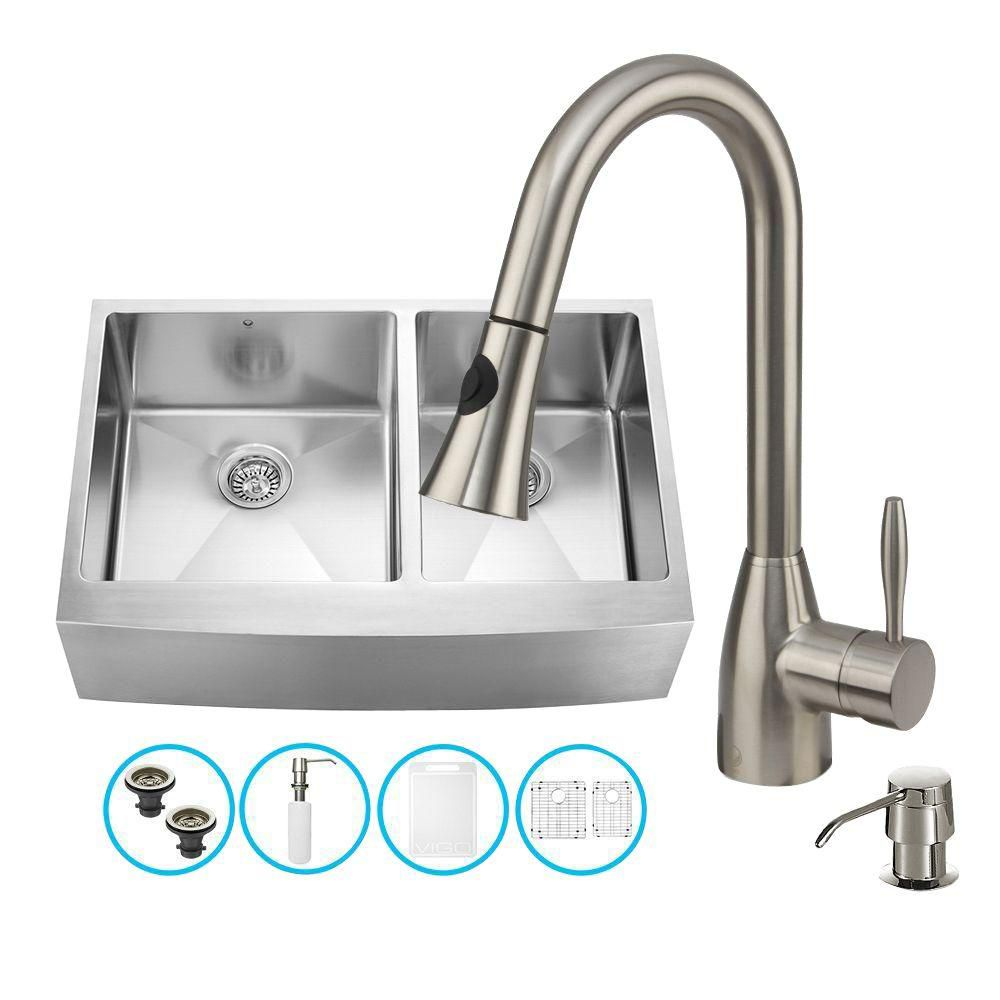 Vigo Stainless Steel All in One Farmhouse Double Bowl Kitchen Sink and Faucet Set 33 Inch