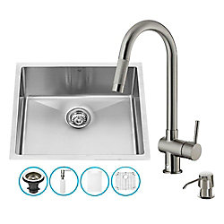 VIGO All-in-One 23 inch Mercer Stainless Steel Single Bowl Undermount Kitchen Sink with Pull Down Faucet in Stainless Steel